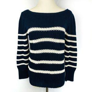 J.CREW Striped Chunky Navy White Crewneck Sweater